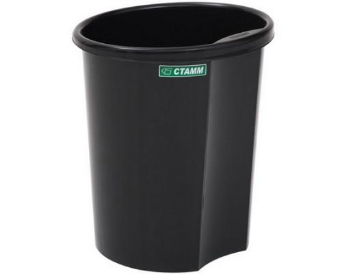 Корзина для бумаг 12 литров цельная (черная)