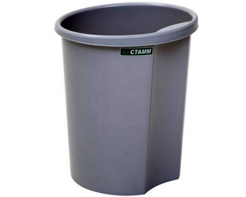 Корзина для бумаг 12 литров цельная (серая)