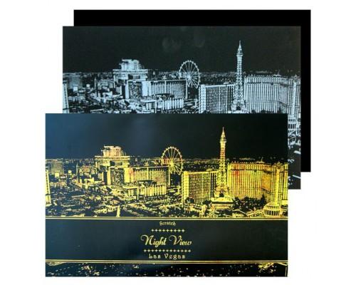 "Гравюра ""Night Vieu Las Vegas"", 42х30см, 2 листа"