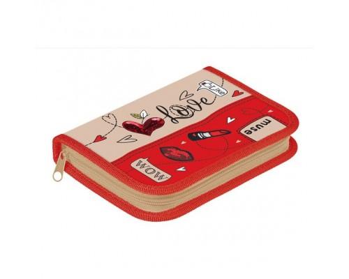 Пенал 1 отделение 190*130 Hatber Soft-touch -Милая модница для девочки