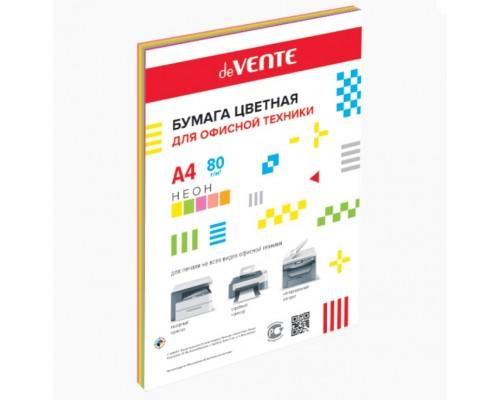 Бумага А4 20 листов deVENTE, 75 г/м?, неоновые цвета, ассорти (5 цветов) БЕЗ СКИДКИ