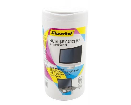 Салфетки Silwerhof 671214 для экранов мониторов/плазменных/ЖК телевизоров/ноутбуков туба 100шт влажн
